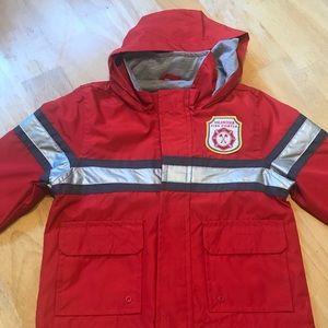 NWOT little boys firefighter rain coat